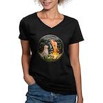MidEve-Golden 11 Women's V-Neck Dark T-Shirt