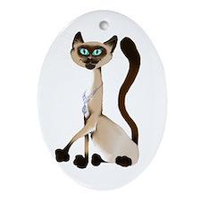 Big Siamese Kitty Oval Ornament