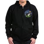 Starry / Border Collie (Z) Zip Hoodie (dark)