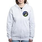 Starry / Border Collie (Z) Women's Zip Hoodie