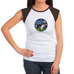 Starry / Border Collie (Z) Women's Cap Sleeve T-Sh