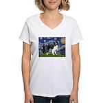 Starry / Border Collie (Z) Women's V-Neck T-Shirt