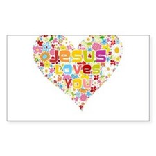 Jesus Loves You Rectangle Decal