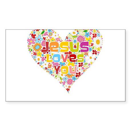 Jesus Loves You Rectangle Sticker