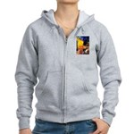Cafe / Border Collie (Z) Women's Zip Hoodie