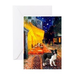 Cafe / Border Collie (Z) Greeting Card