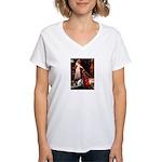 Accolade/Border Collie (Z) Women's V-Neck T-Shirt