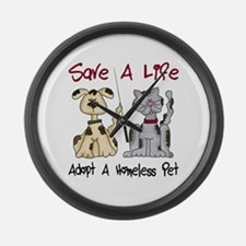 Adopt A Homeless Pet Large Wall Clock