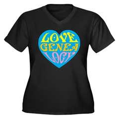 Groovy Love II Women's Plus Size V-Neck Dark T-Shi