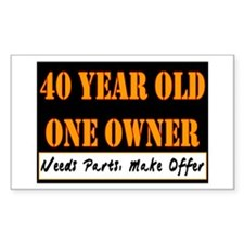 40th Birthday Rectangle Decal