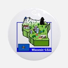 Wisconsin Map Ornament (Round)