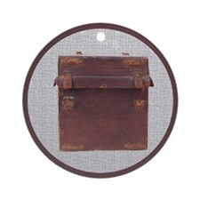 Cute Vintage leather suitcases Ornament (Round)