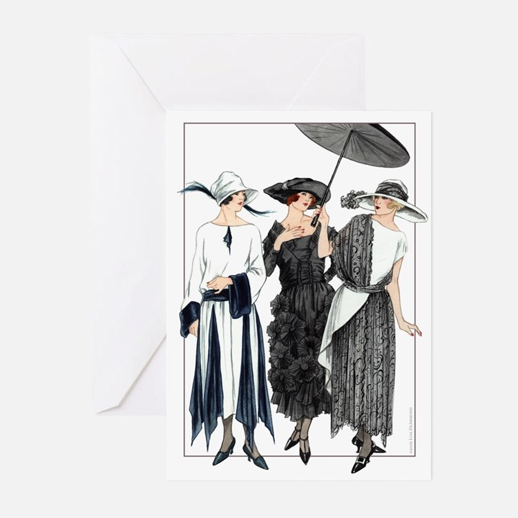 3 Fashionable Mademoiselles Cards (Pack of 10)