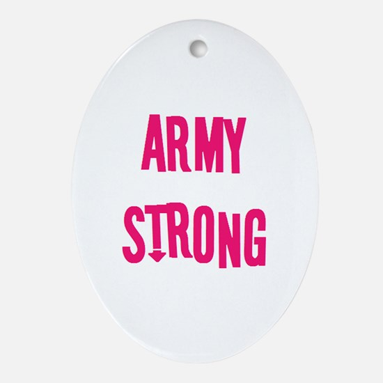 Pink Plain Army Strong Oval Ornament