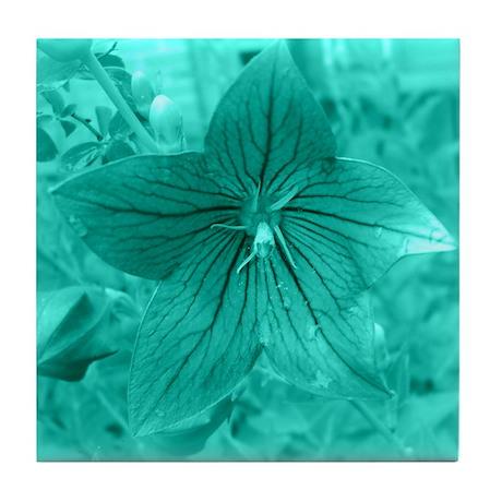 Turquoise Flower Tile Coaster