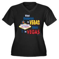 Vegas Women's Plus Size V-Neck Dark T-Shirt