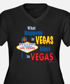 Vegas Women's Plus Size V-Neck Dark T-Shirt