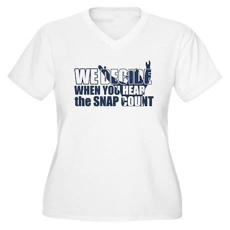 Women's Plus Size V-Neck T-Shirt (Snap Count)