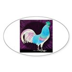 Moon Glow Rooster Oval Sticker (10 pk)