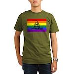 Rainbow Gadsden Flag Organic Men's T-Shirt (dark)