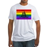 Rainbow Gadsden Flag Fitted T-Shirt