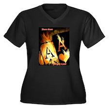 Unique Pocket Women's Plus Size V-Neck Dark T-Shirt