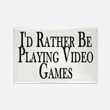 Rather Play Video Games Rectangle Magnet