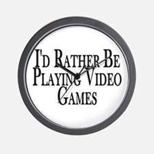 Rather Play Video Games Wall Clock