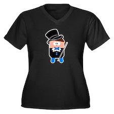 Cute Street magician Women's Plus Size V-Neck Dark T-Shirt