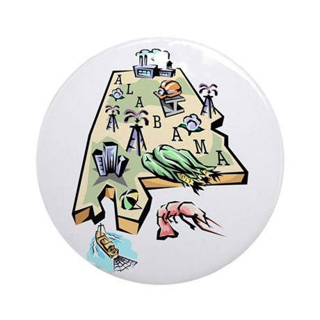 Alabama Map Ornament (Round)