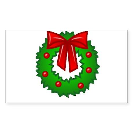 Christmas Wreath Rectangle Sticker