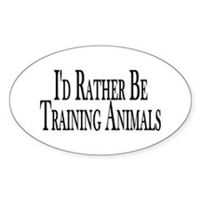Rather Train Animals Oval Decal