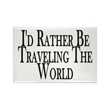 Rather Travel The World Rectangle Magnet (100 pack