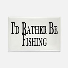 Rather Be Fishing Rectangle Magnet