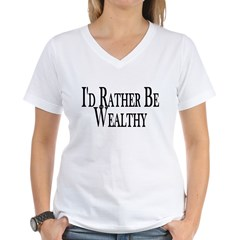Rather Be Wealthy Women's V-Neck T-Shirt