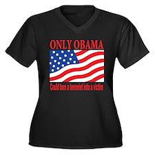 Anti Obama Women's Plus Size V-Neck Dark T-Shirt