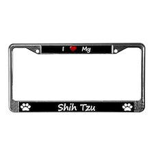 Black I Love My Shih Tzu License Plate Frame