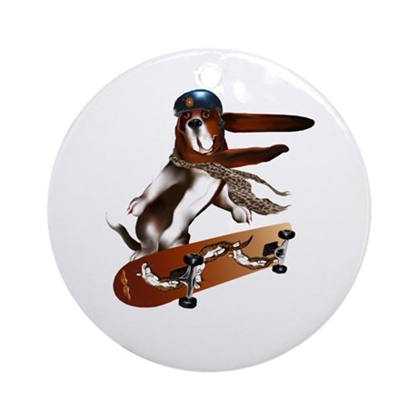 Beagle On A Skateboard Ornament (Round)