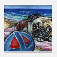 Pug Merry at the beach Tile Coaster