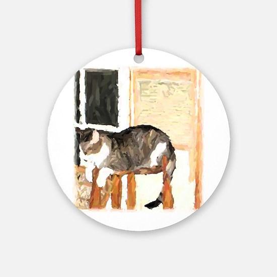 Cat Digitally Manipulated Pho Ornament (Round)