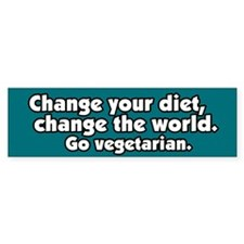 Change the World Vegetarian Bumer Bumper Sticker