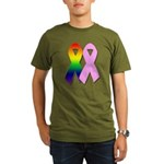 Rainbow & Pink Ribbons Organic Men's T-Shirt (dark