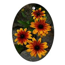 Rock Garden Flowers Oval Ornament