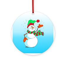 Festive Cartoon Snowman Ornament (Round)