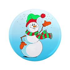 "Festive Cartoon Snowman 3.5"" Button"