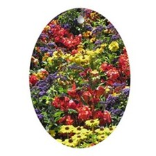Helaine's Confetti Flowers Oval Ornament