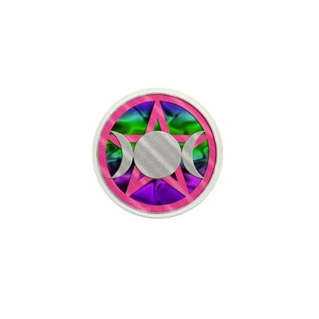 Pink Pentagram Triple Goddess Mini Button