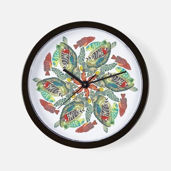 green and red fish snowflake  Wall Clock