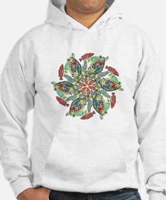 green and red fish snowflake Hoodie