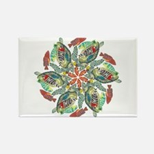 green and red fish snowflake Rectangle Magnet